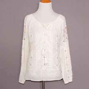 Maple Embroidered Lace Peasant Top